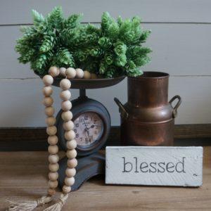 farmhouse wood bead garland