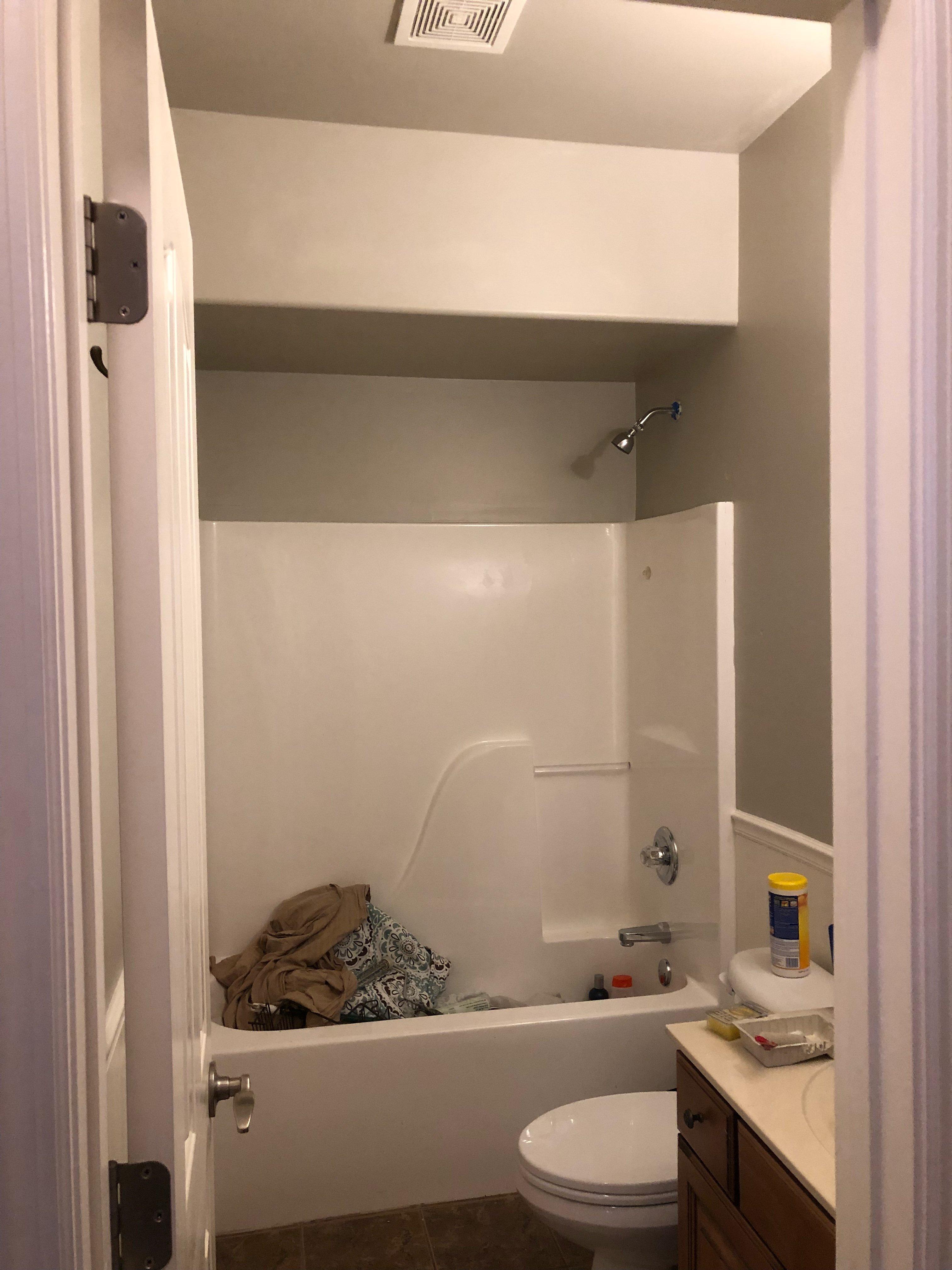 100 dollar room challenge work in progress on my bathroom makeover