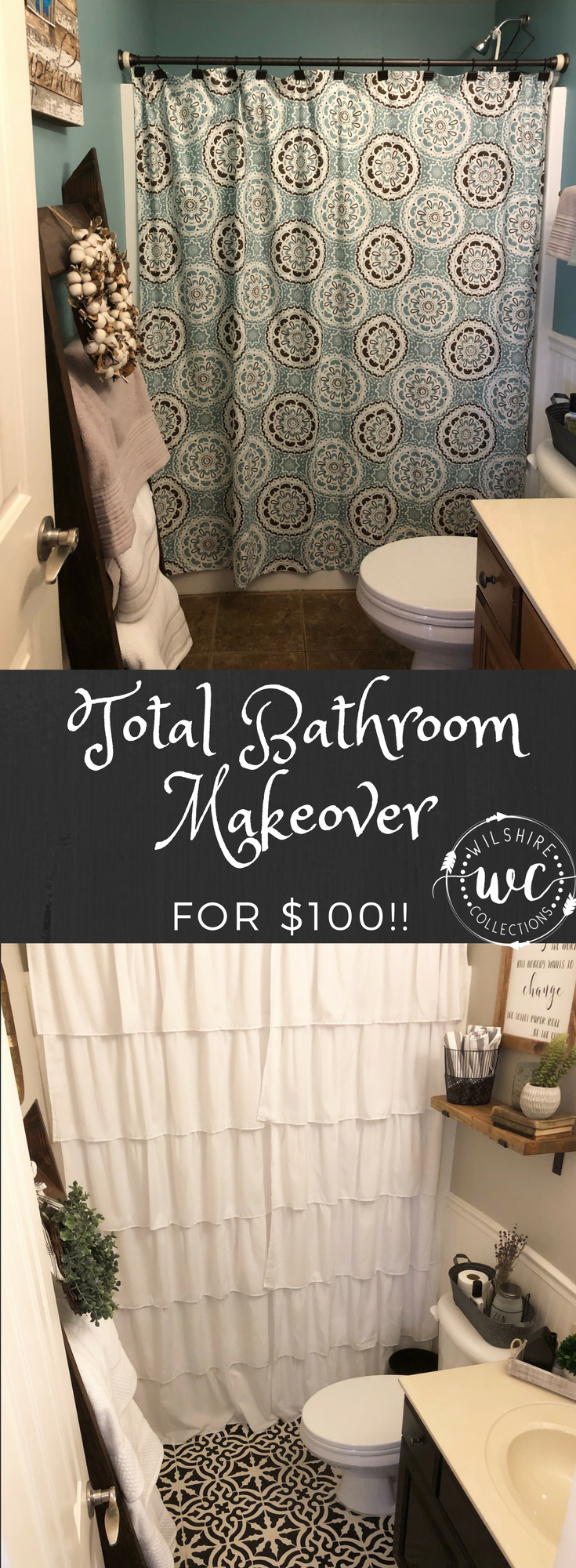 Total bathroom makeover for $100! A tutorial on how to stencil your tile floors!
