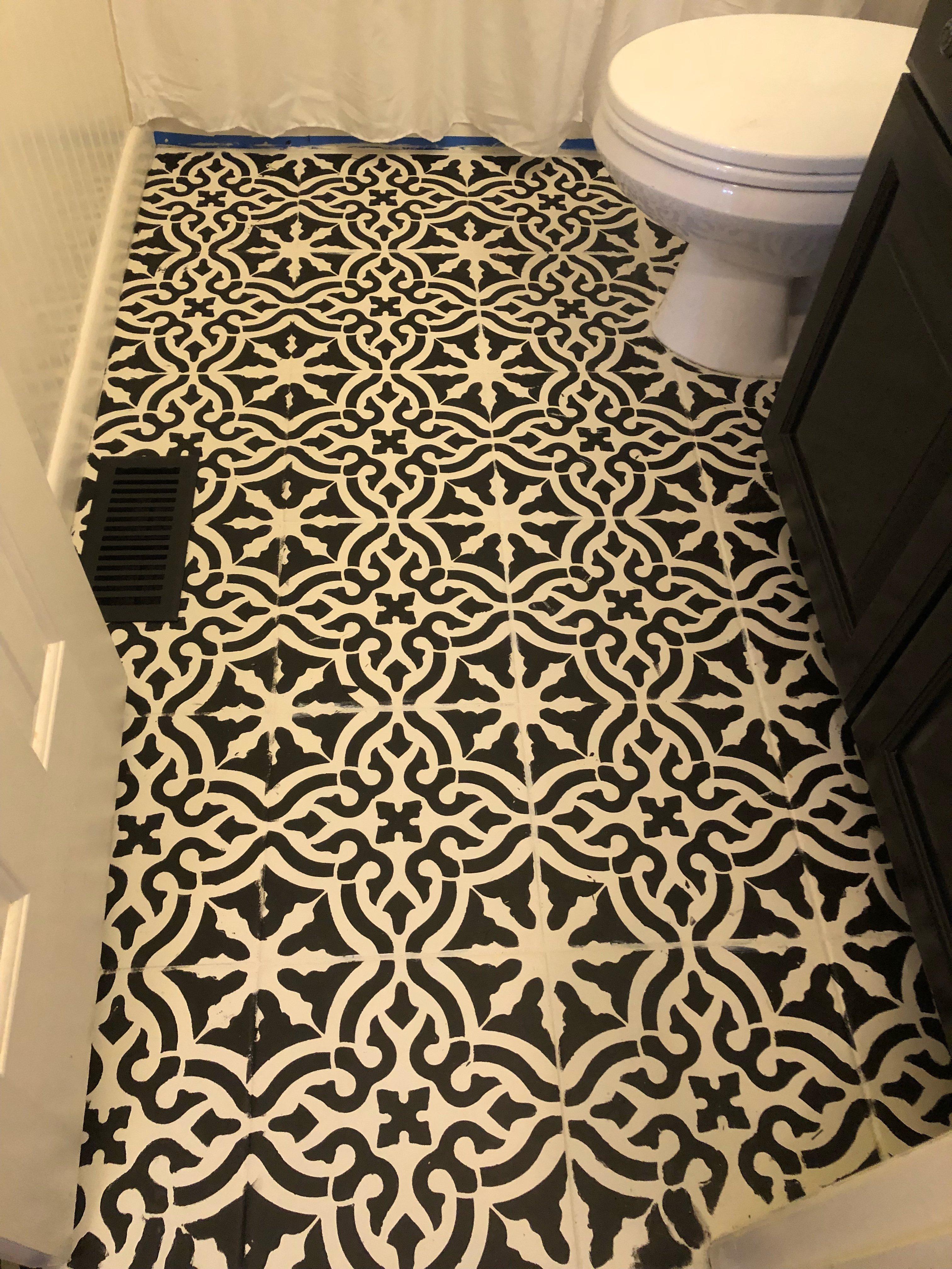stencil tutorial on tile floors