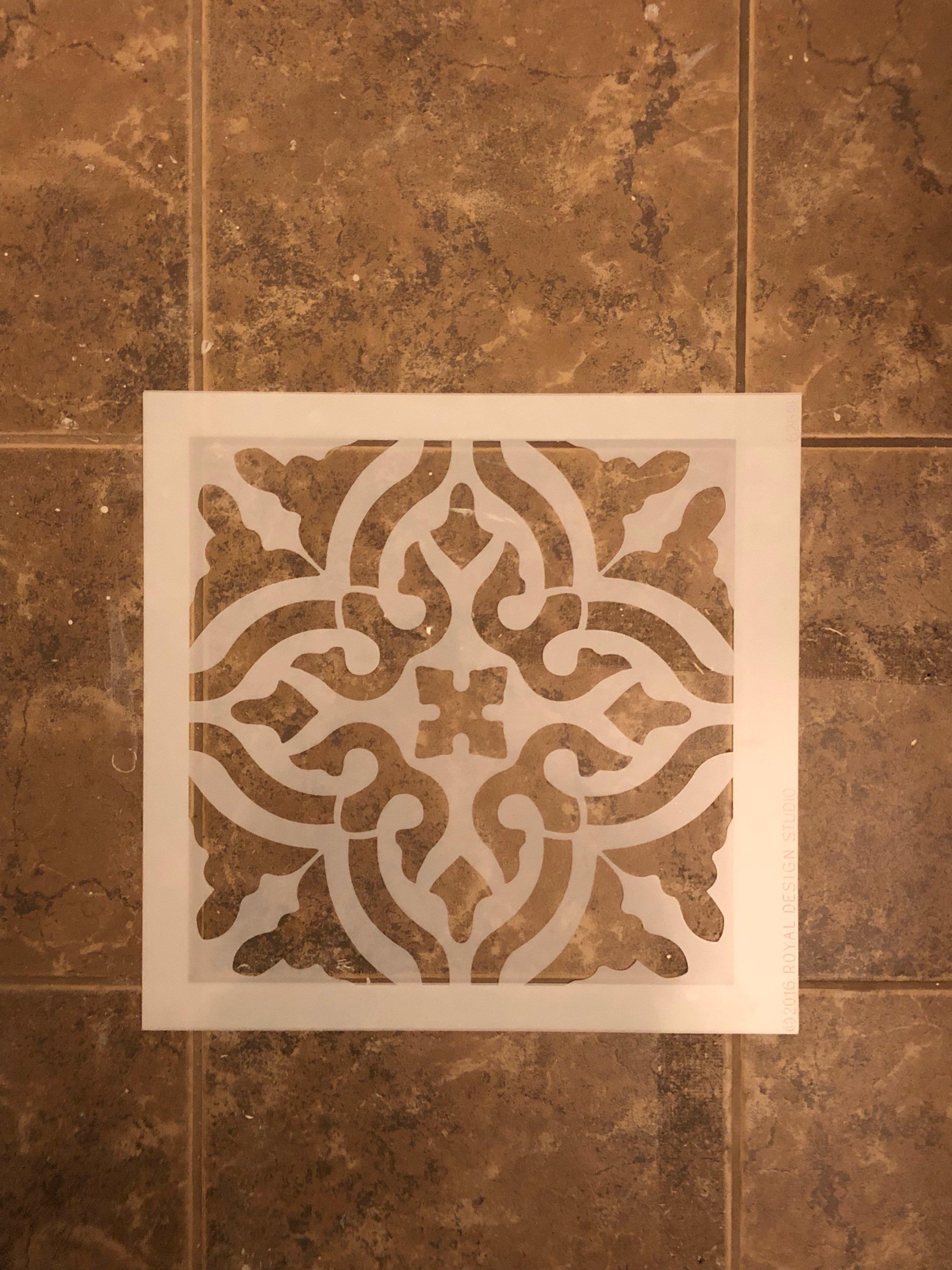 stencil tutorial on floors. royal stencil toledo tile