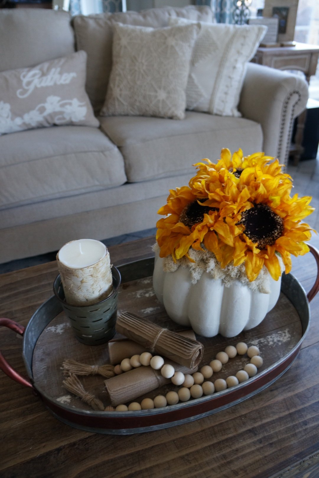 DIY ~ Painted Pumpkin with Sunflowers…an easy, cheap and quick project!
