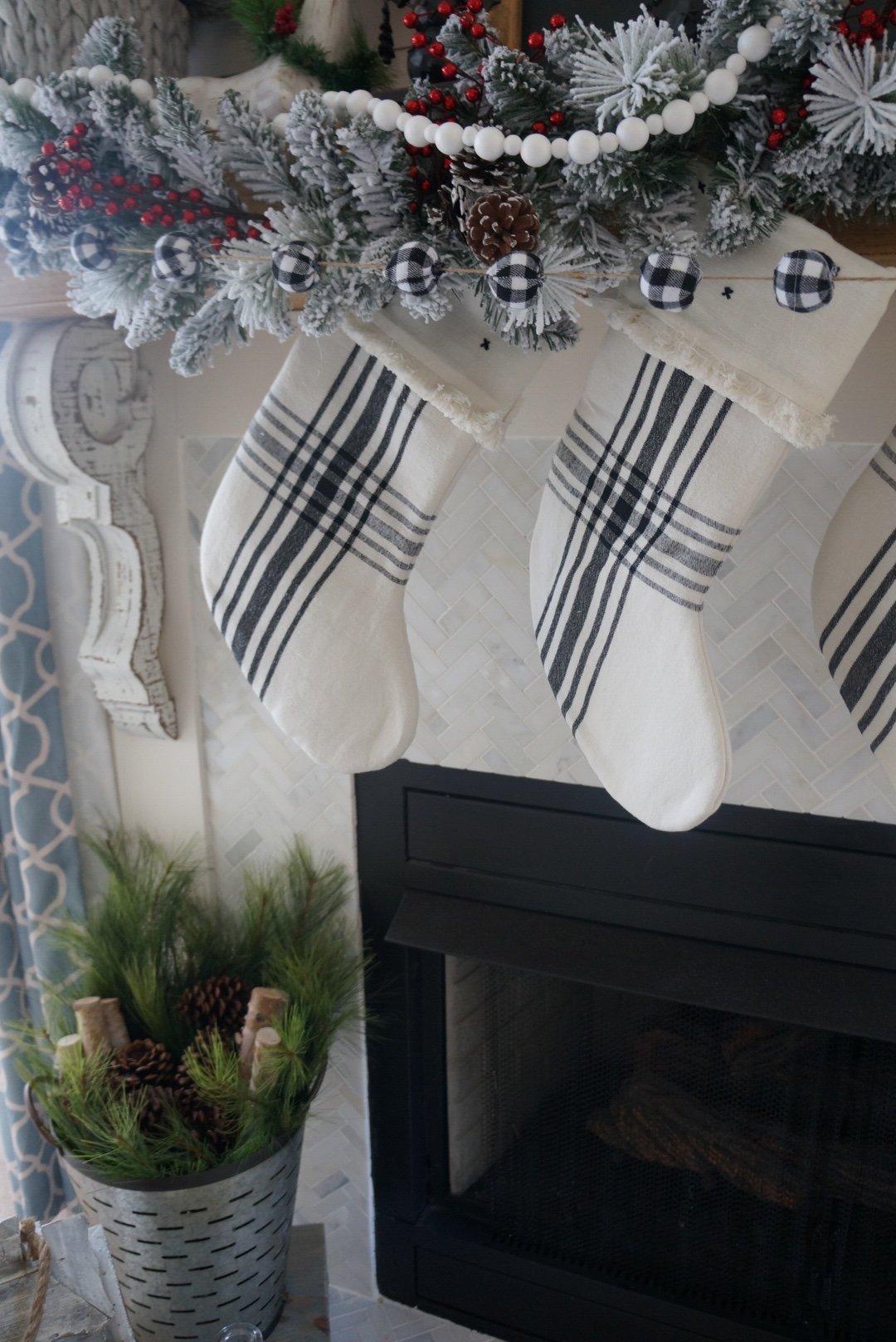 astounding black white christmas living room | Buffalo check christmas decor living room fireplace and ...