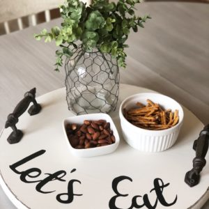 Let's Eat, Lazy Susan Farmhouse Tray in Antique White