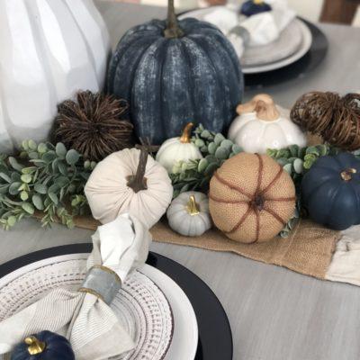 Fall dining room with DIY navy blue pumpkins