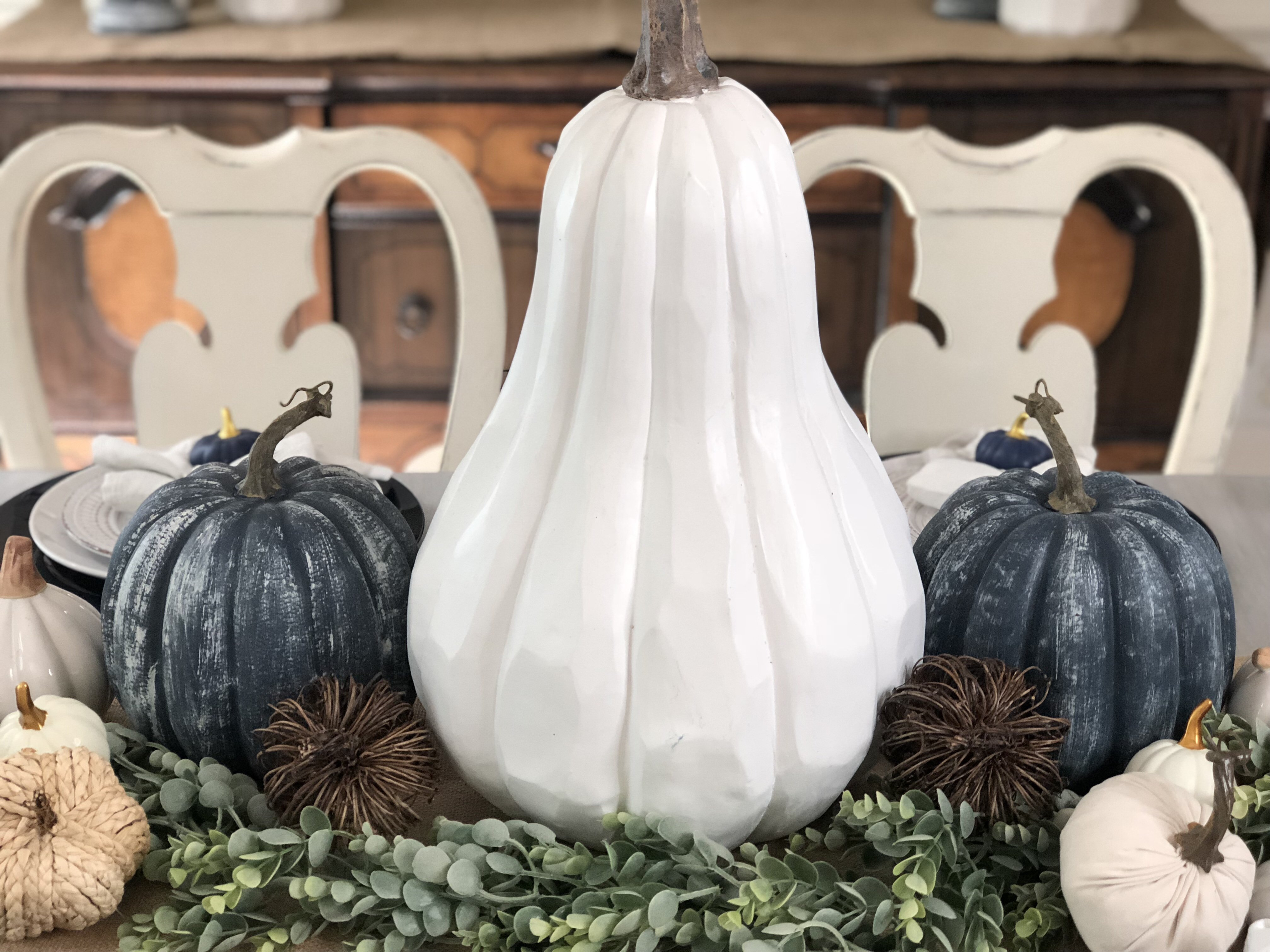 Fall dining room with DIY navy pumpkins and white pumpkins