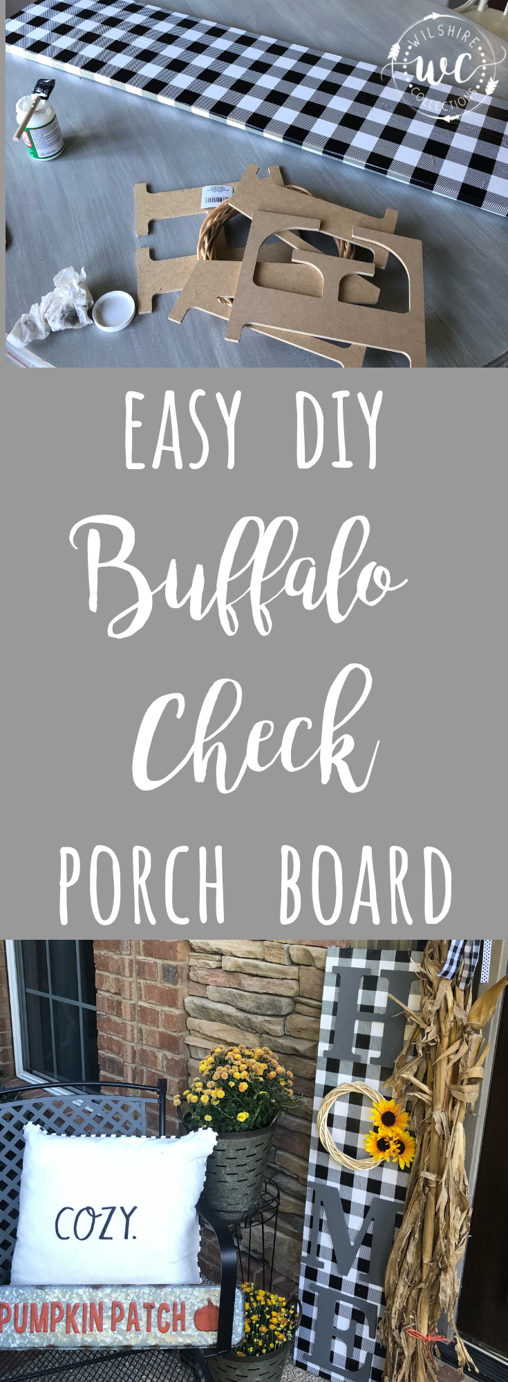 Easy DIY buffalo check porch board! This easy project is so cute and could be used all year round on your front porch!