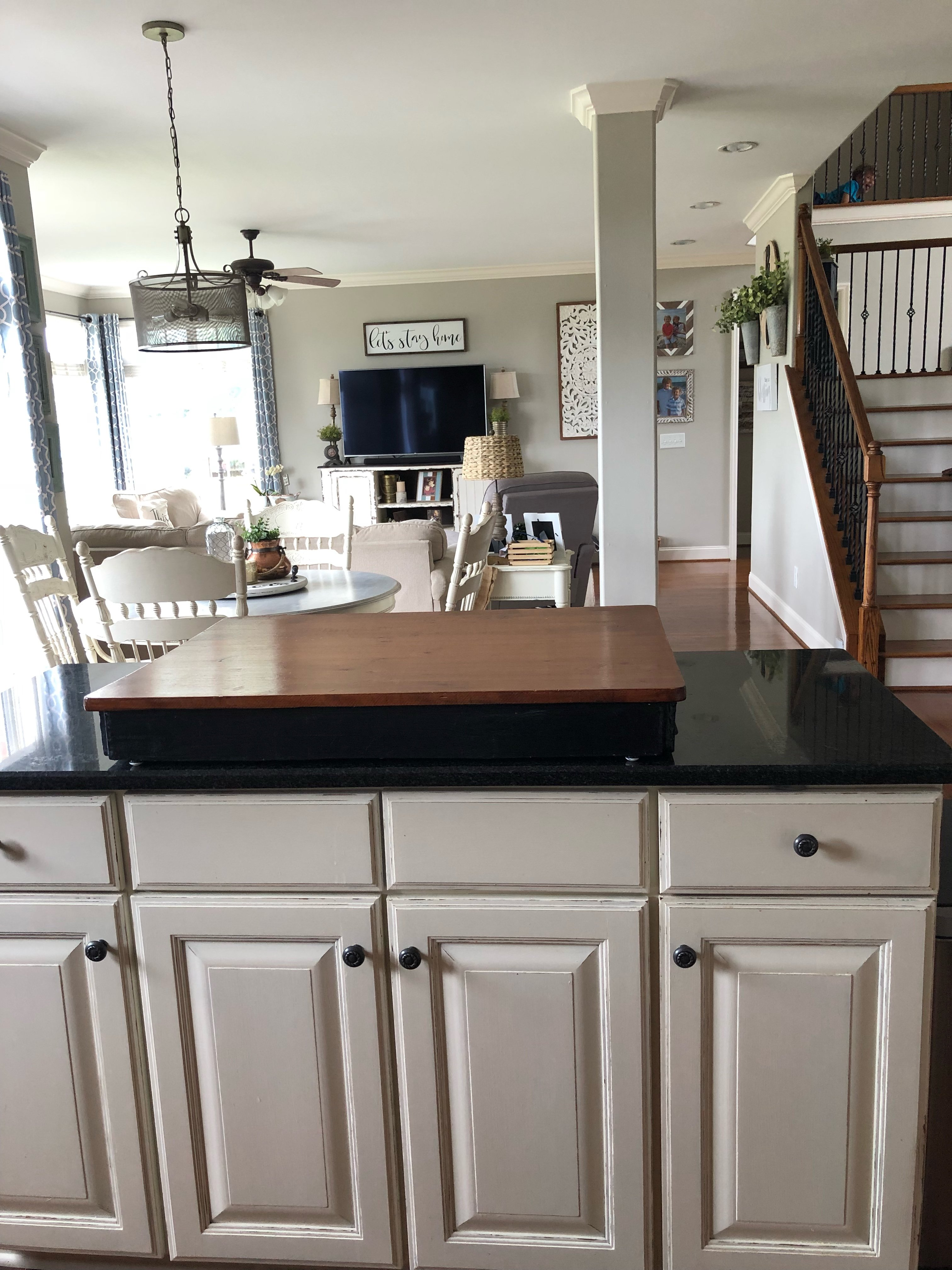 My painted kitchen cabinet makeover...before, after and everything on my kitchen floor tile, my kitchen sink, my kitchen counter,