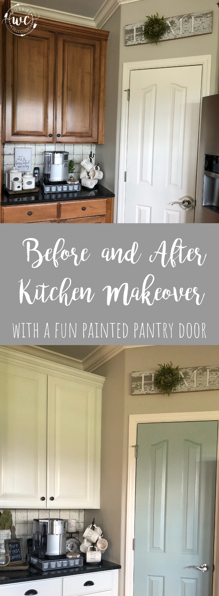 My painted kitchen cabinet makeover with a fun painted pantry door! Before and after pics!