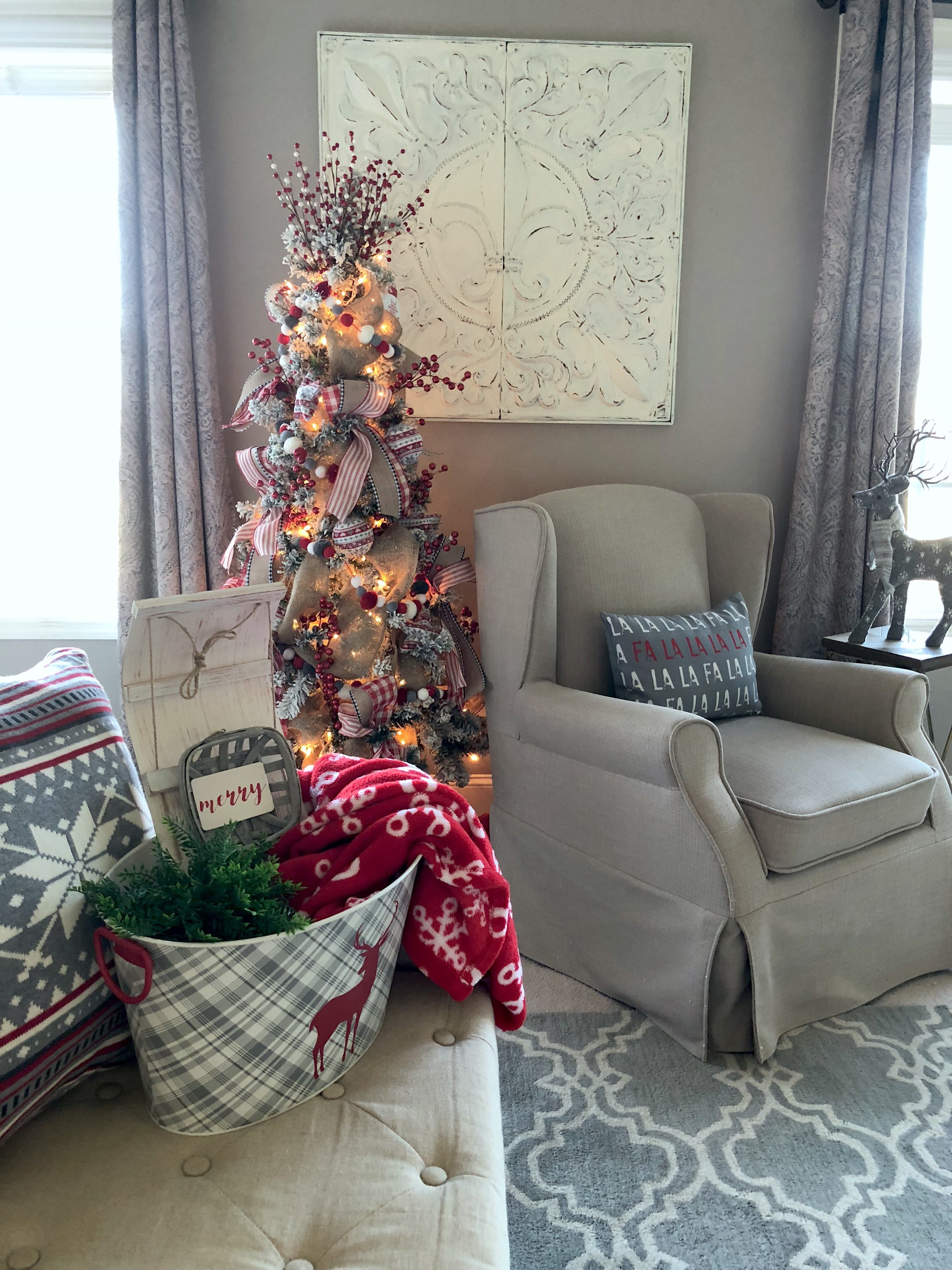 4 ideas on how to add Christmas decor to your master bedroom, tree, pillows, throw blanket and more!