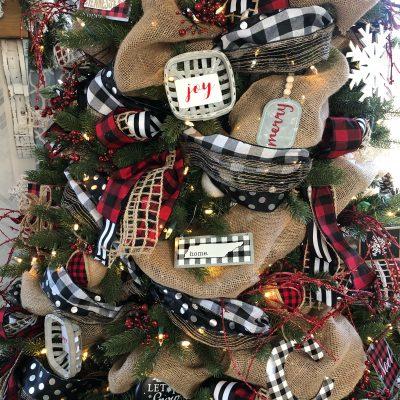Buffalo check christmas tree with ribbon and ornaments