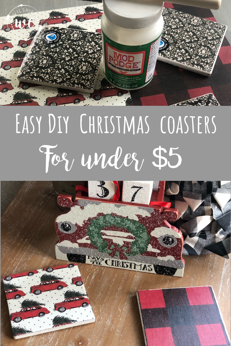 DIY Christmas Coasters for under $5 using only 3 supplies! So easy and cute!