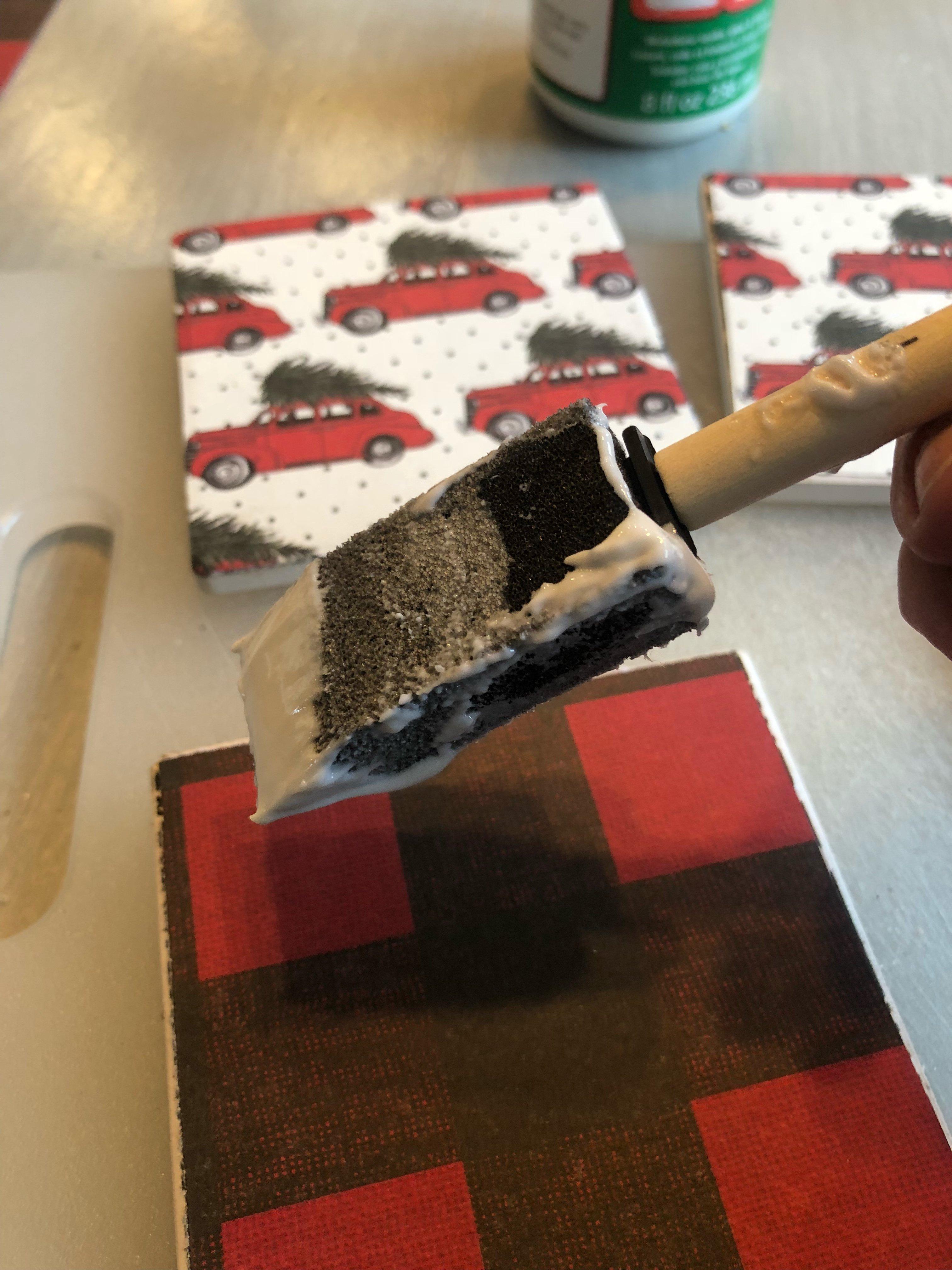 DIY Christmas coasters using scrapbook paper