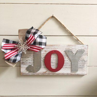 Easy DIY Joy Christmas sign with buffalo check