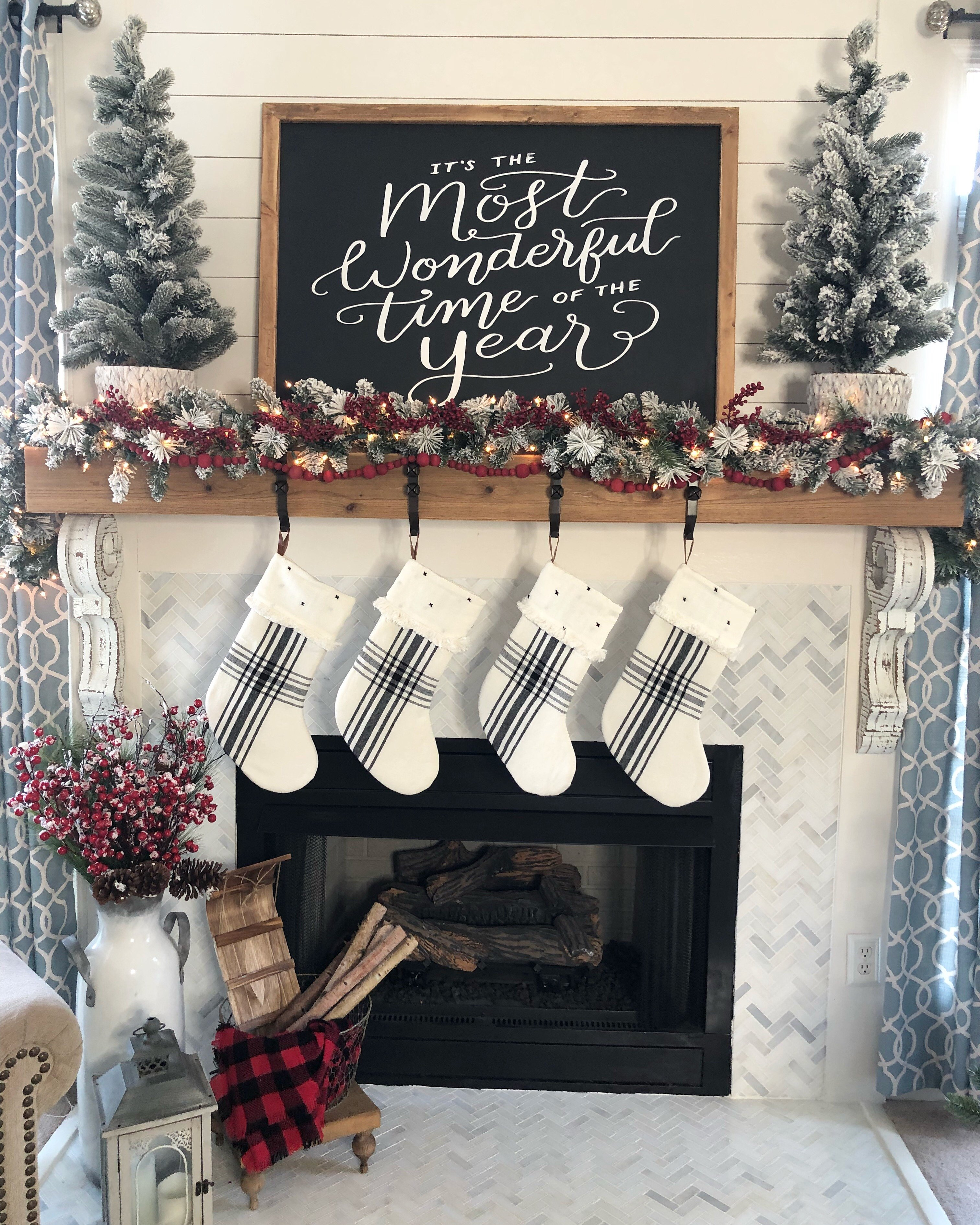 My Christmas fireplace decorations for 2018. Buffalo check, black, reds, white and flocked trees and garland