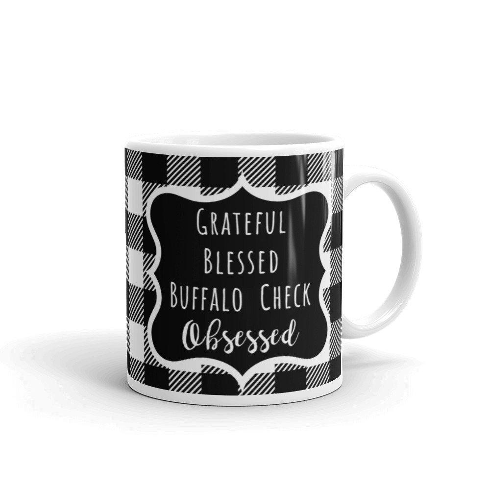 Buffalo Check Mug Grateful Blessed Buffalo Check Obsessed