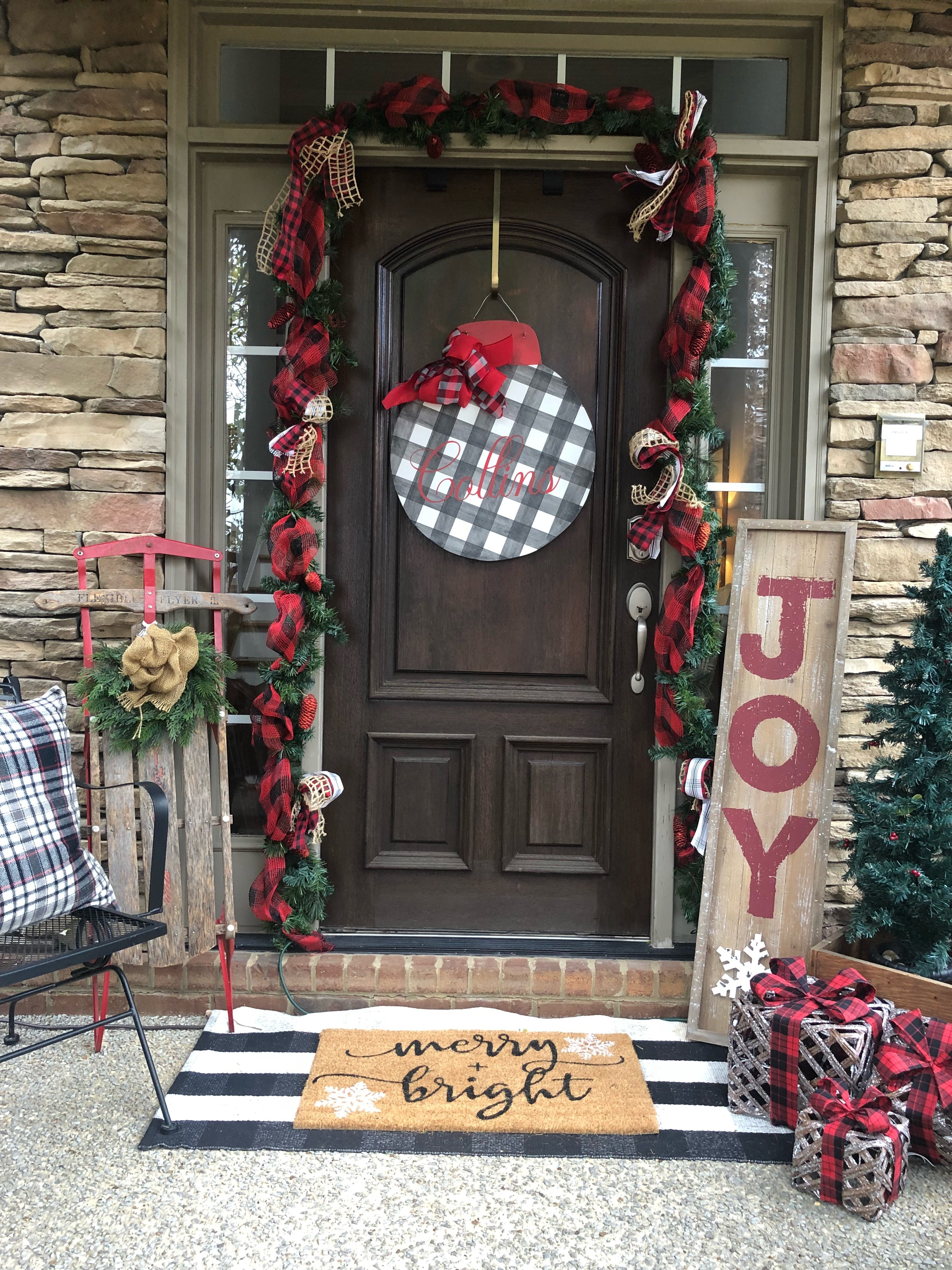 Christmas Home Tour front porch entrance of my home with buffalo check and an old sled