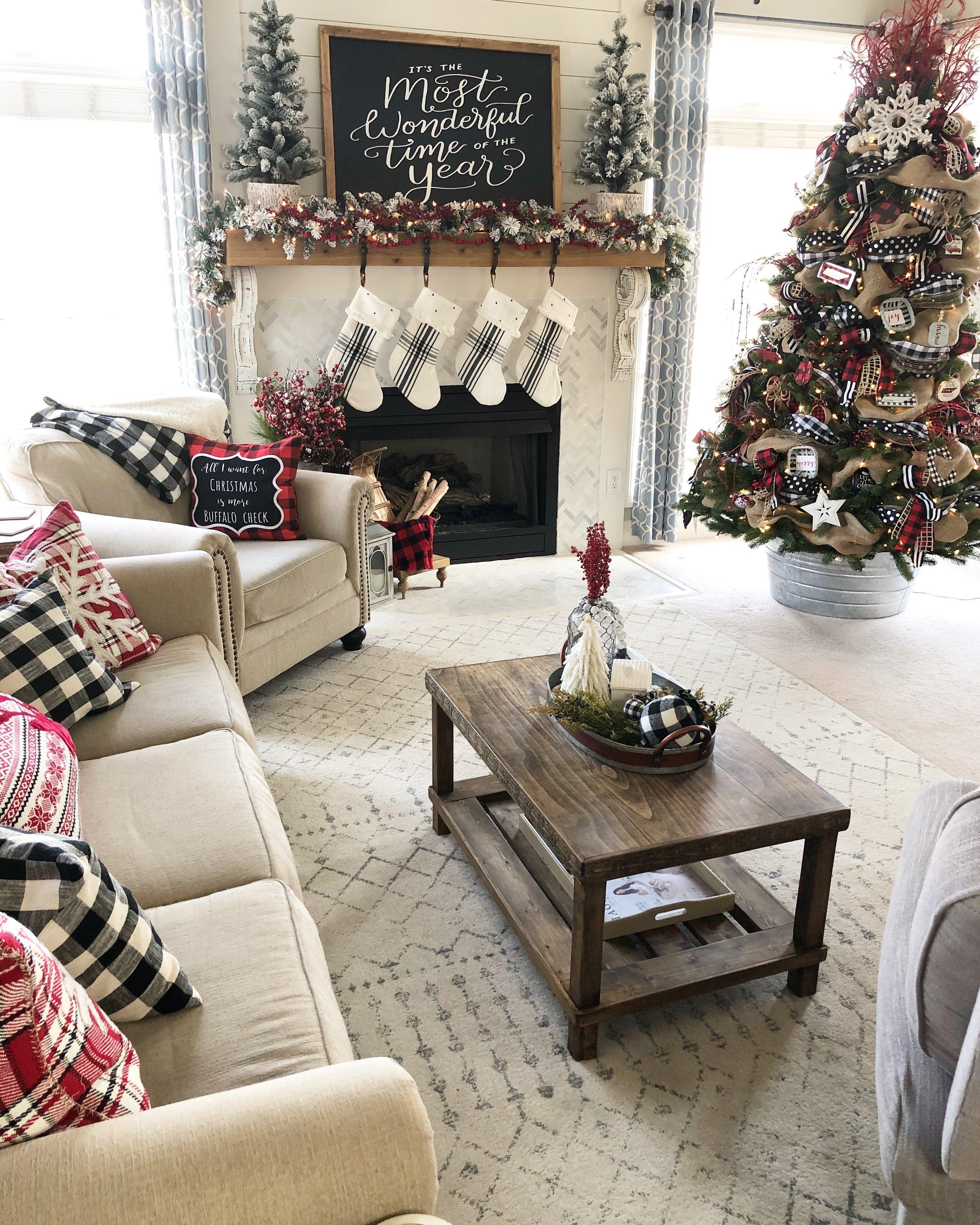 Christmas home tour buffalo check and plaid living room with tree with ribbon