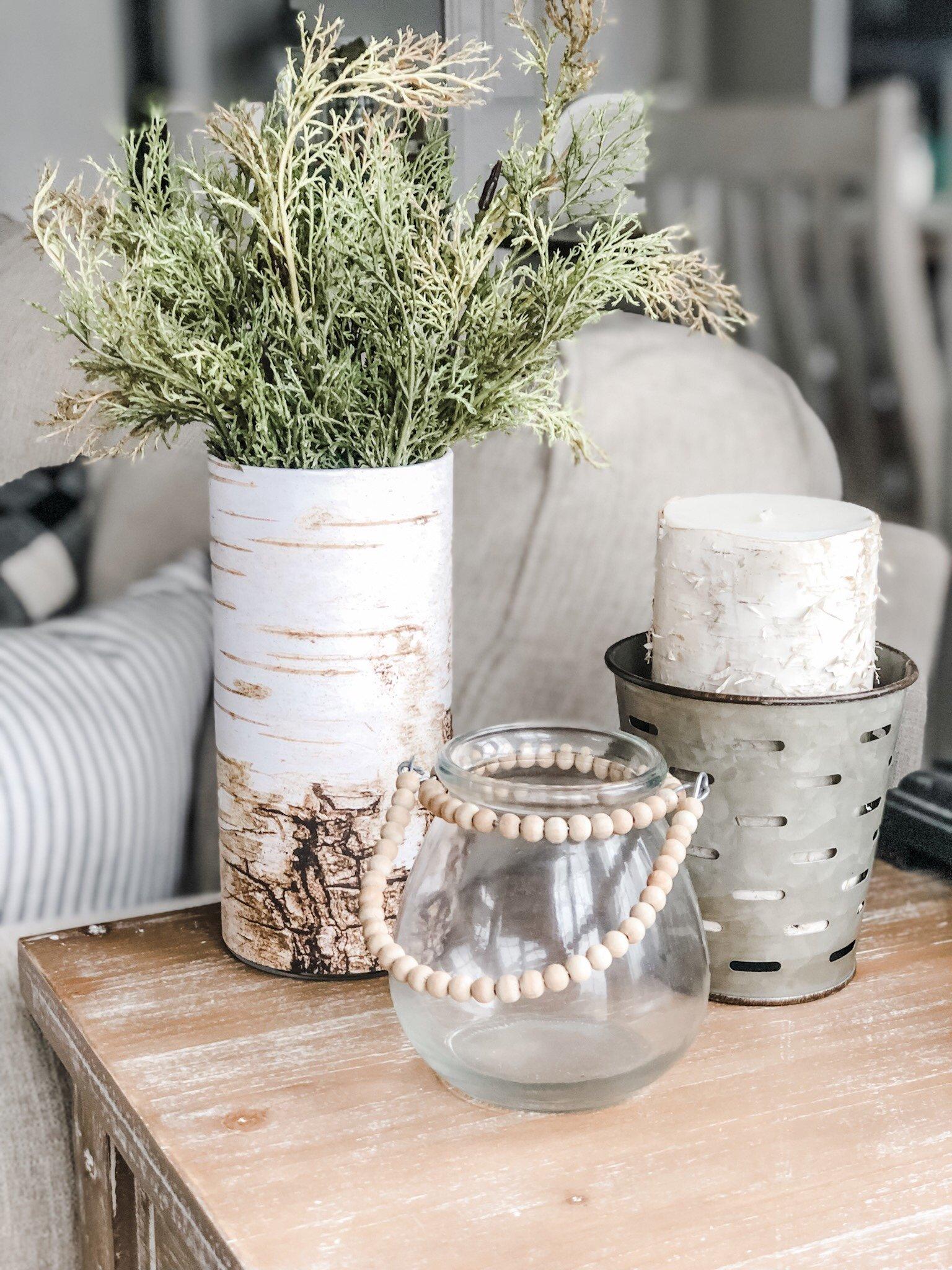 DIY Faux birchwood vase for under $2, super cute for winter decor