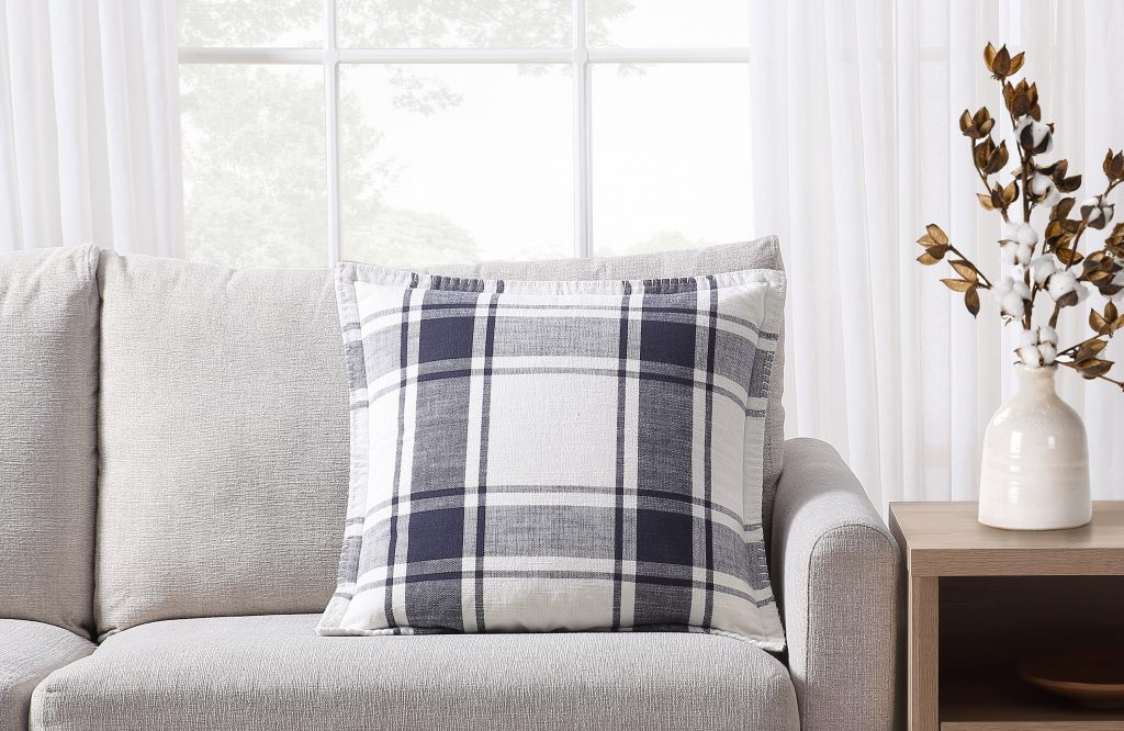 Cute everyday throw pillows for your home- plaid and reversible