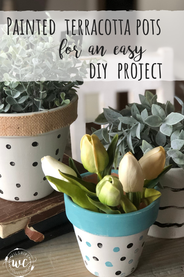 Painted Terracotta pots for an easy diy project! Do them to match your own decor!