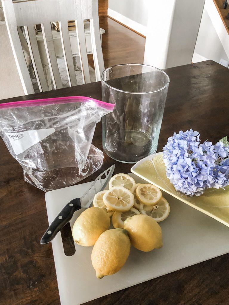 Lemon vase floral centerpiece hack- the supplies