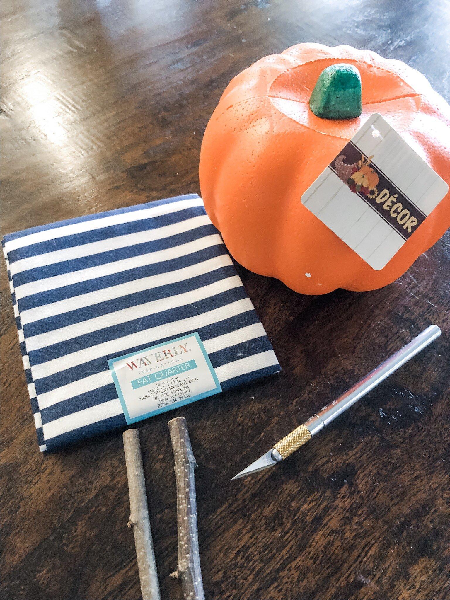 Easy no sew fabric pumpkins from dollar tree pumpkins and fat quarter fabric