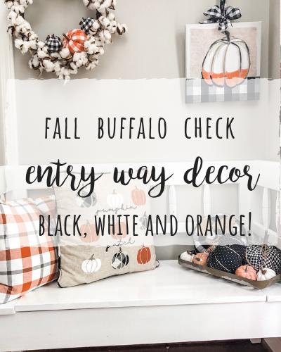 Fall buffalo check entry way bench decor