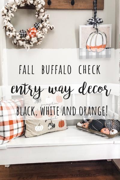 Fall buffalo check entry way bench decor!