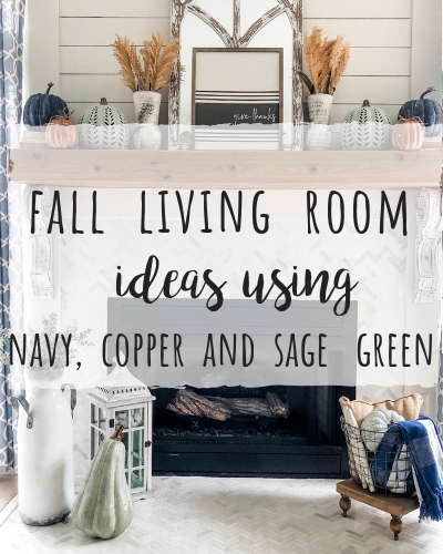 Fall living room ideas using navy, copper and sage green!