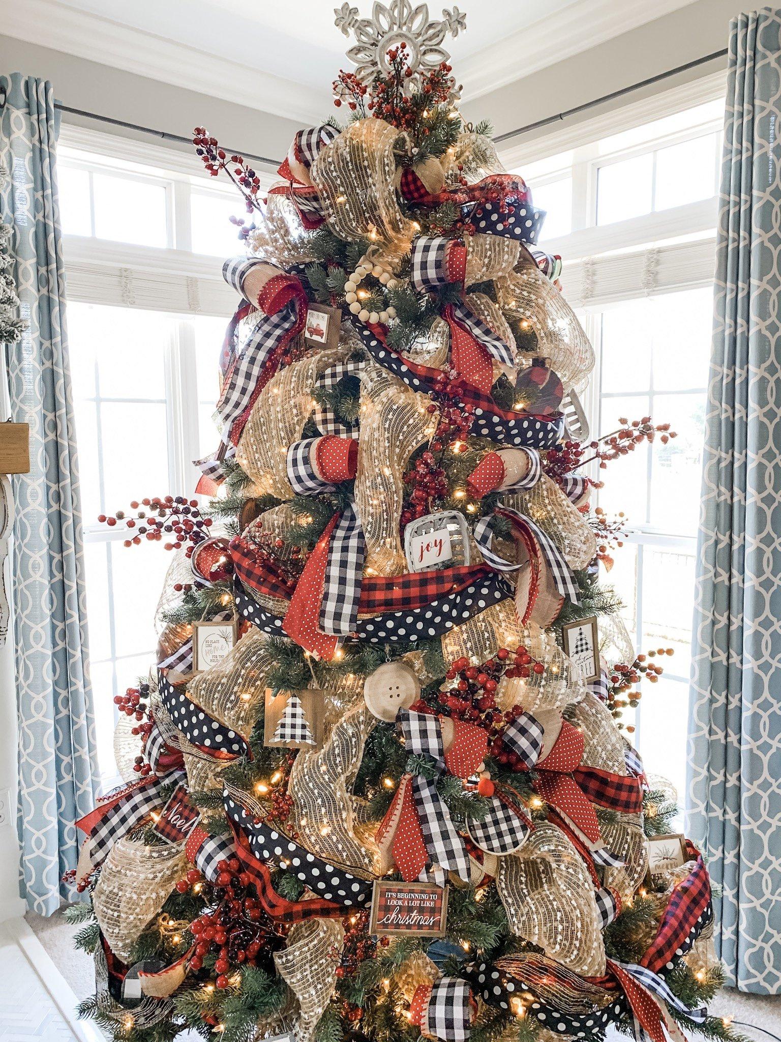 Christmas Tree Ideas Using Ribbon Buffalo Check And Polka Dot