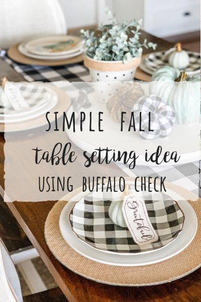 Simple fall table setting idea using buffalo check