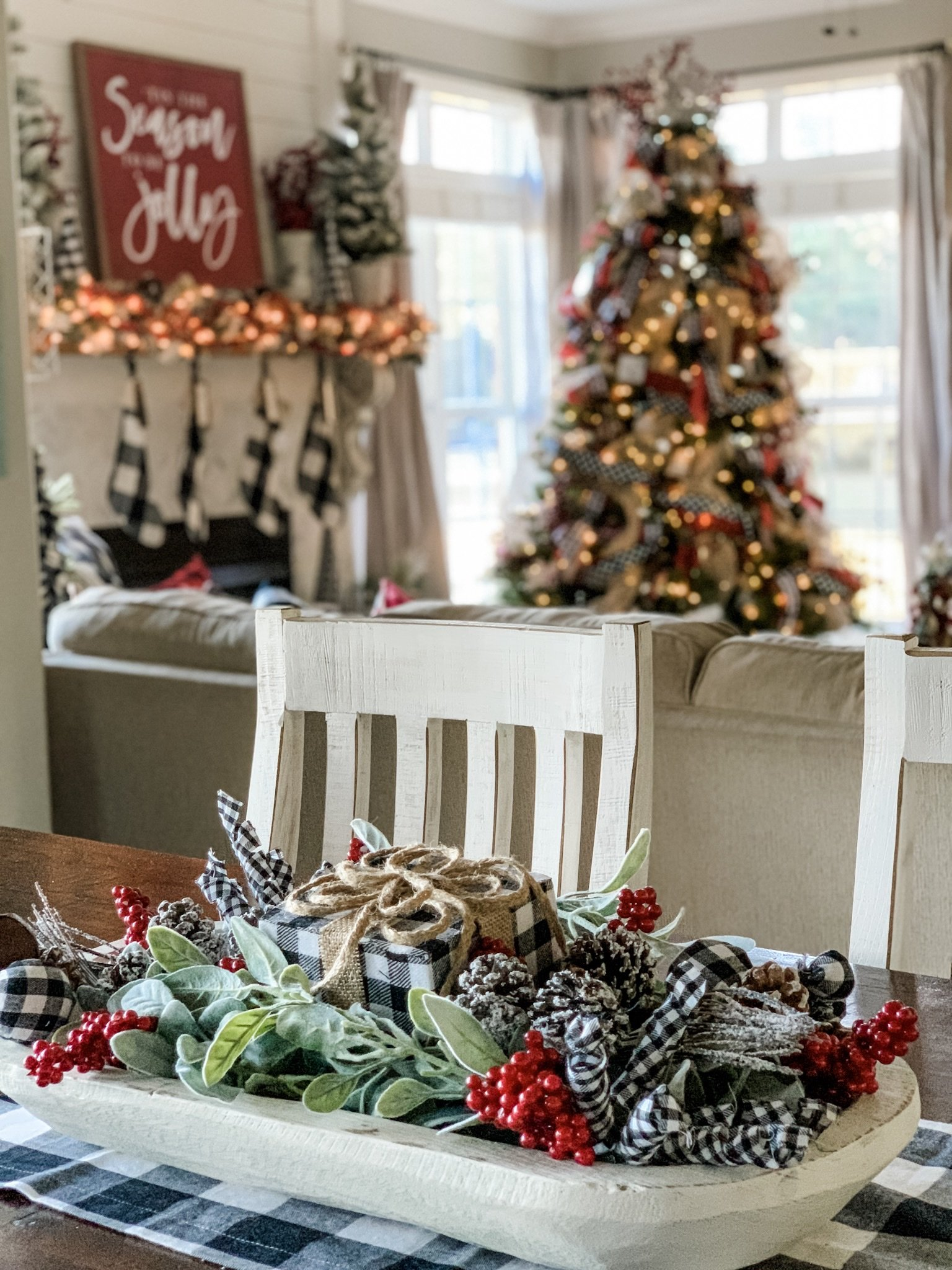 Christmas centerpiece idea using a dough bowl for a festive look!