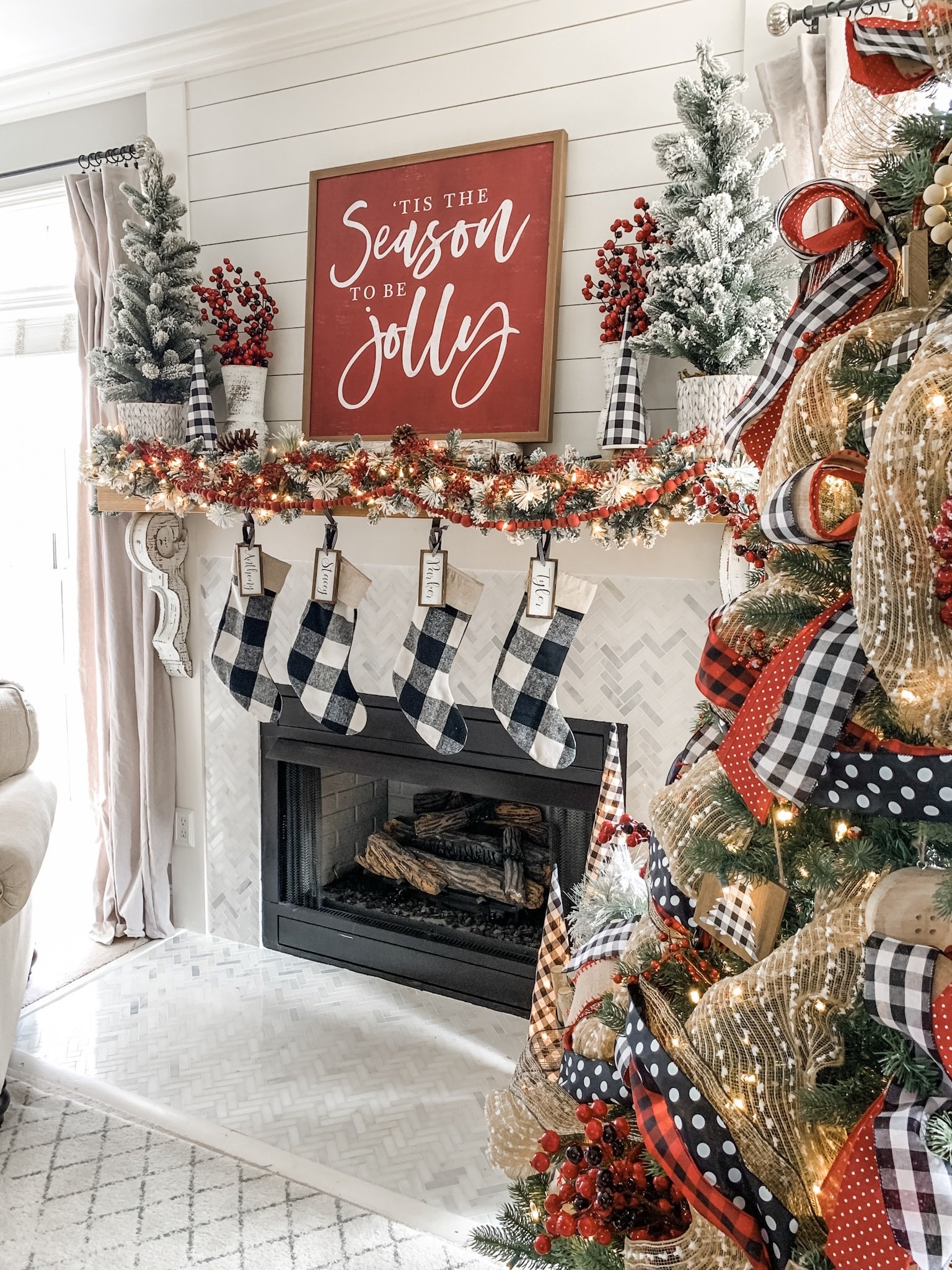 Christmas mantel decor ideas using buffalo check! | Wilshire ...