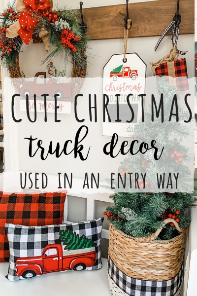 Cute Christmas truck decor used in an entry way!