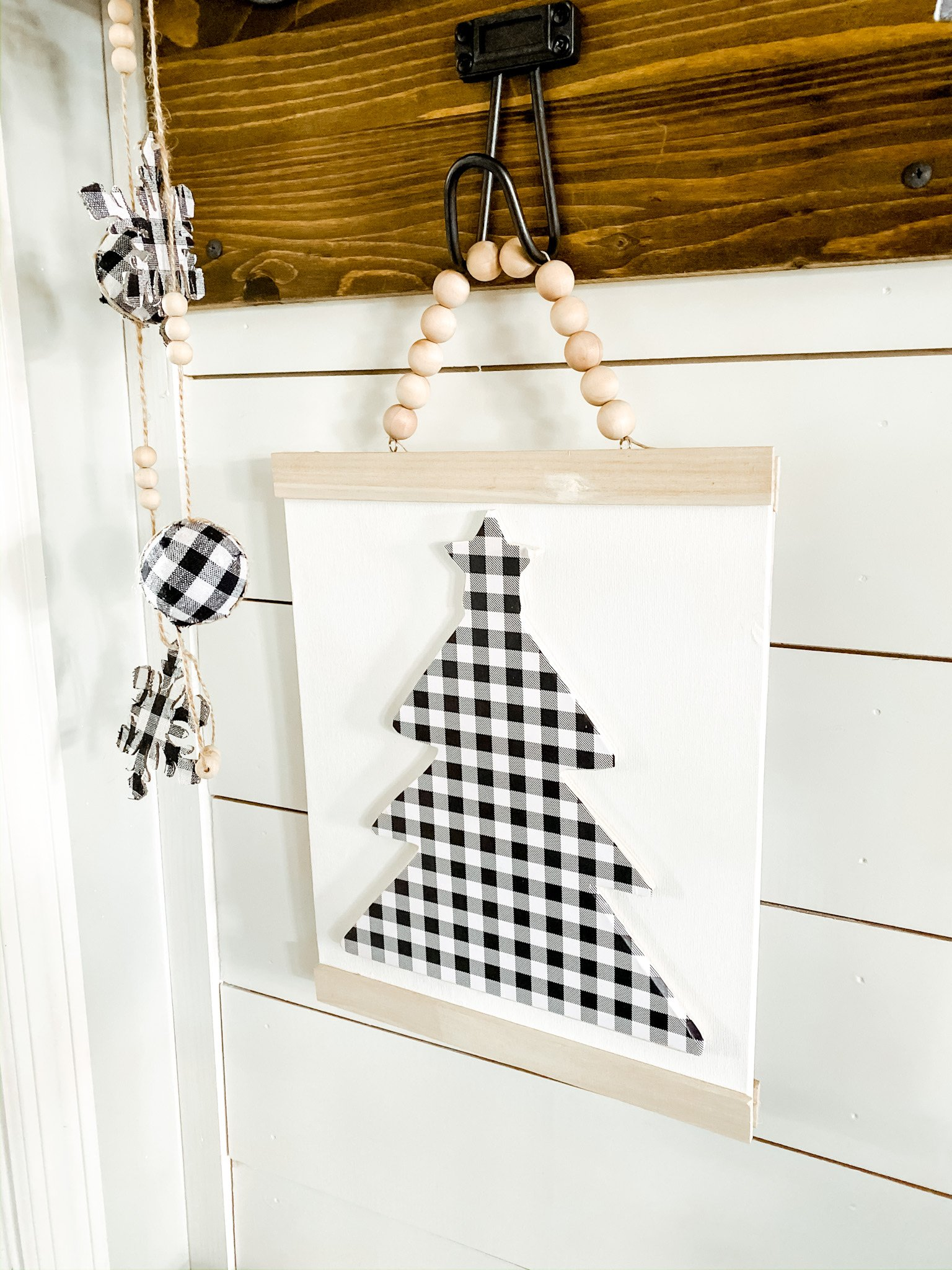 Buffalo check Christmas mudroom