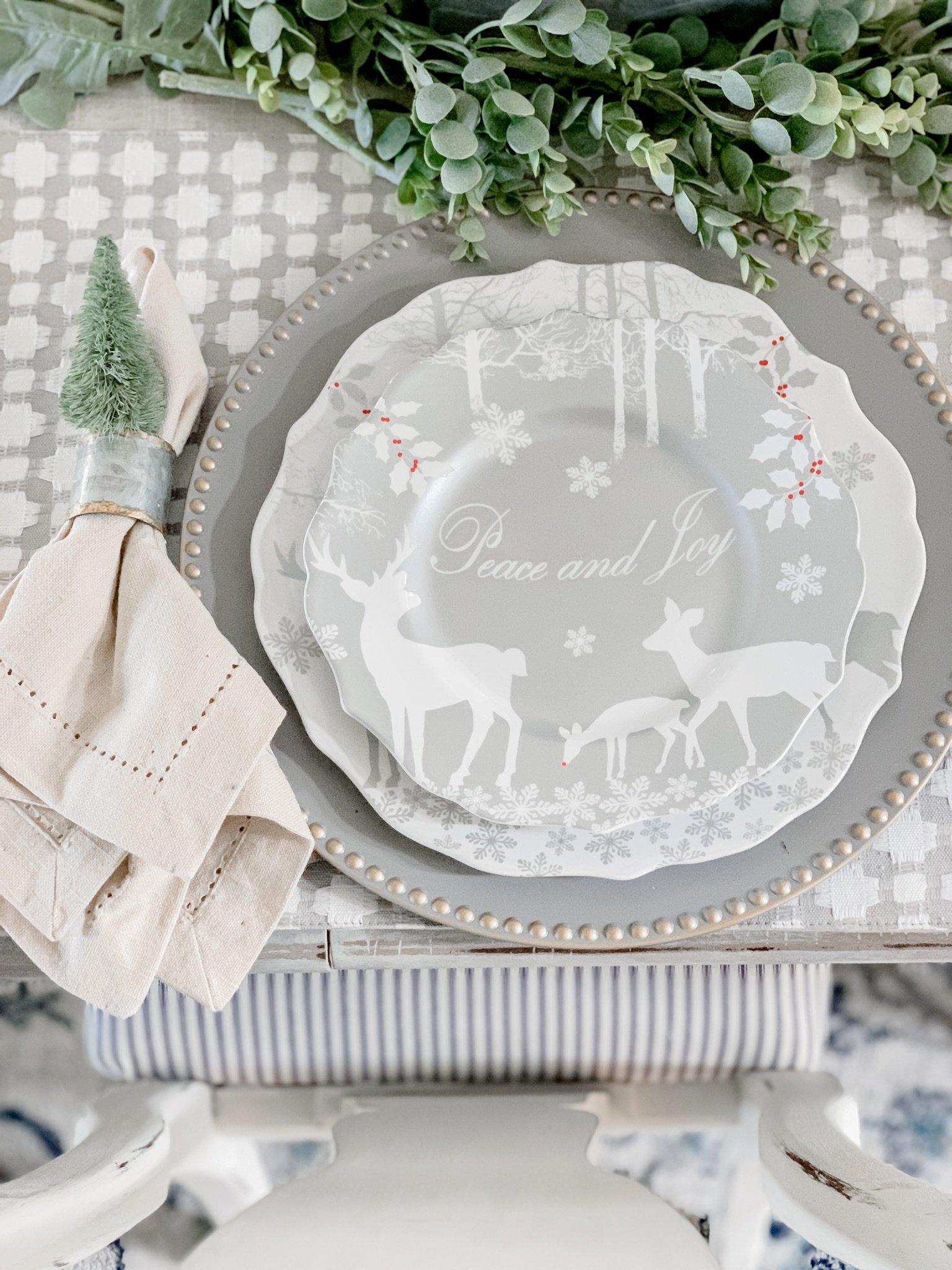 Neutral Christmas dining room decor table setting