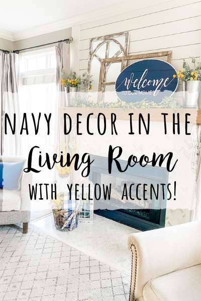 Navy decor in the living room for Spring with yellow accents!