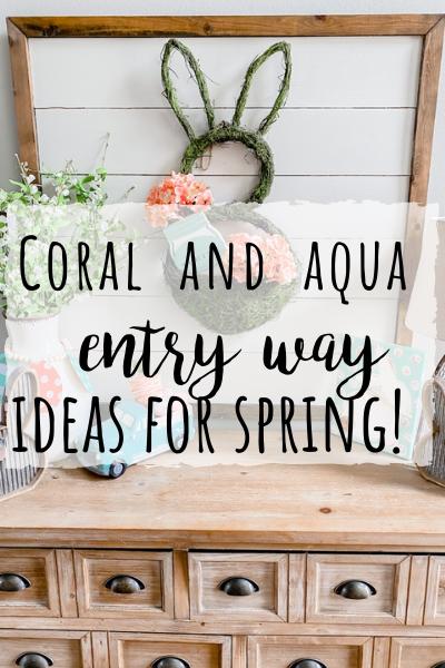 Spring entry way using coral and aqua!