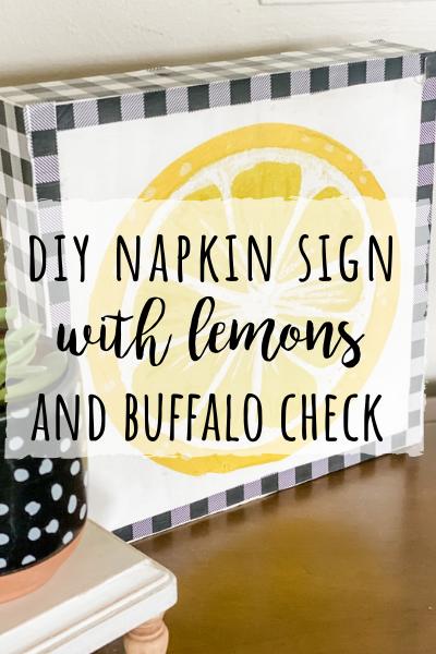 DIY napkin sign with lemons and buffalo check