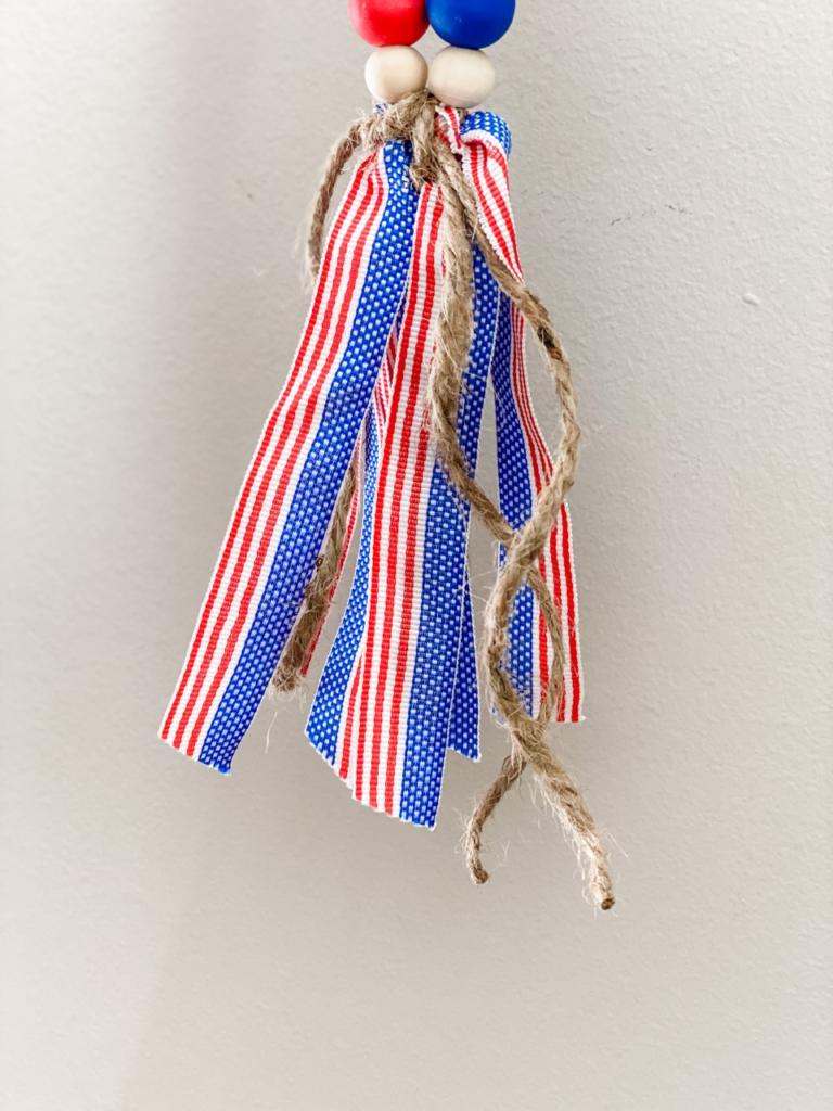 Patriotic wood bead tassel