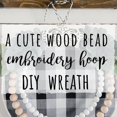 Wood bead Embroidery hoop wreath DIY project