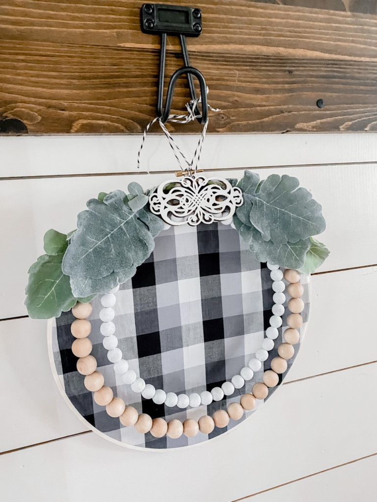 Wood Bead Embroidery hoop wreath