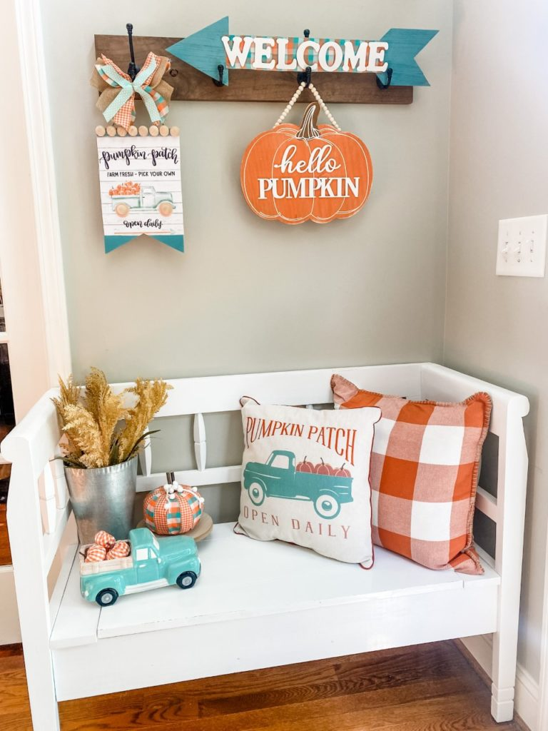 Fall entry way in aqua and orange!