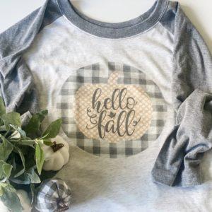 Shirt- gray hello fall