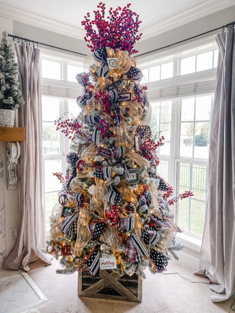 Flocked tree with ribbon