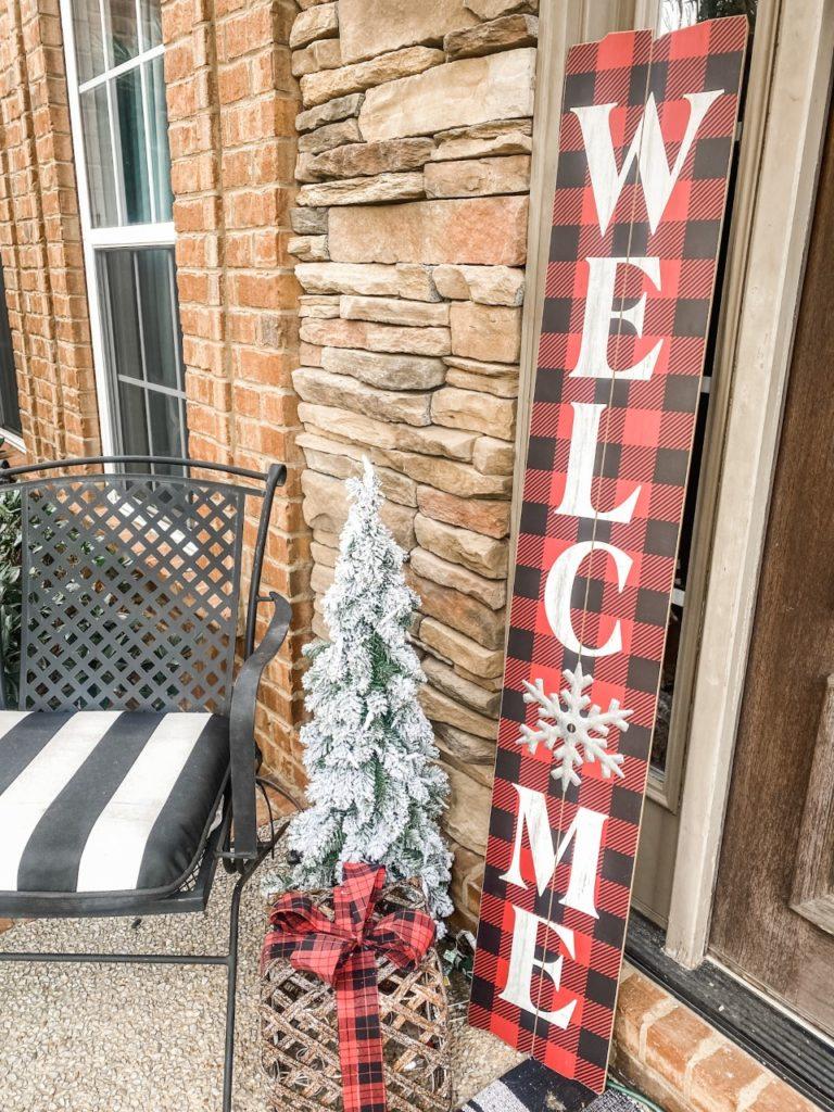 Christmas porches- porch board sign