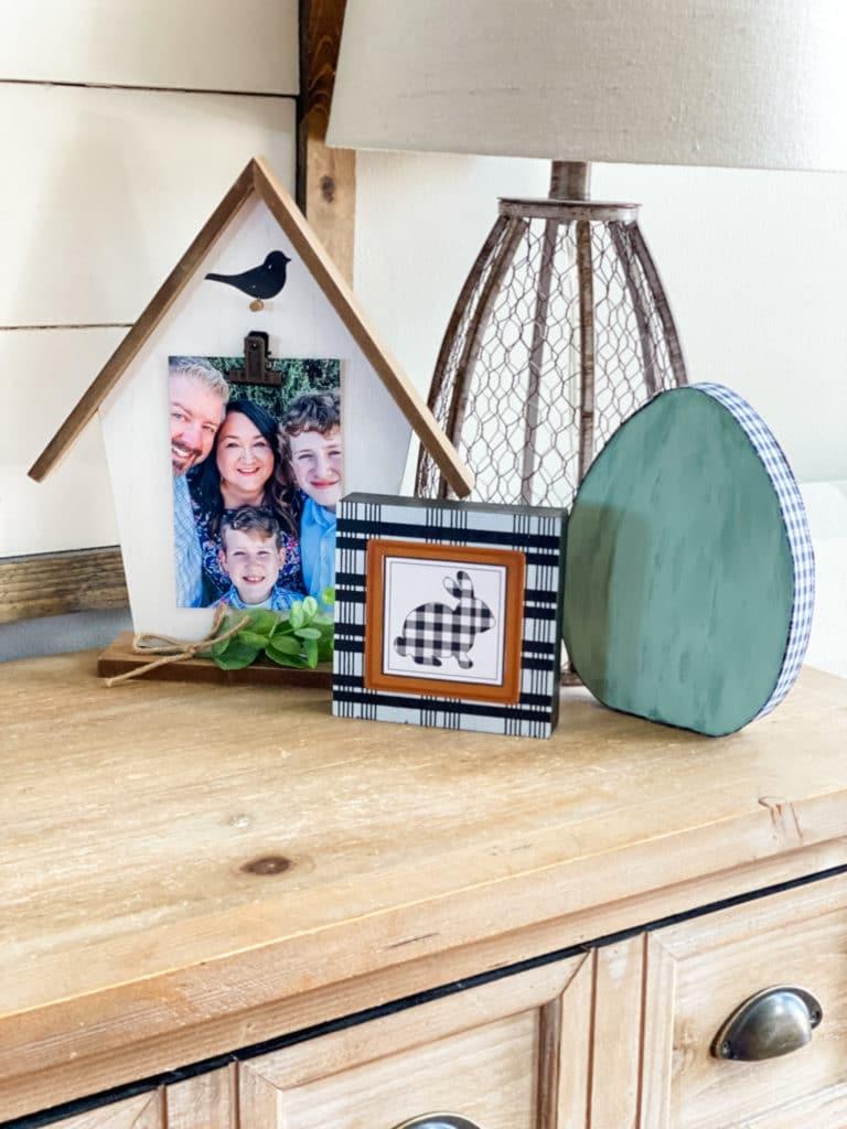 farmhouse spring decor on table