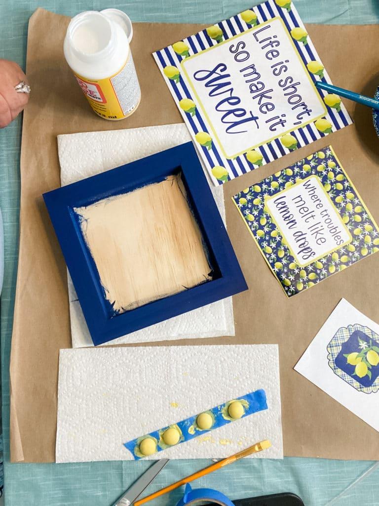 supplies for DIY lemon sign