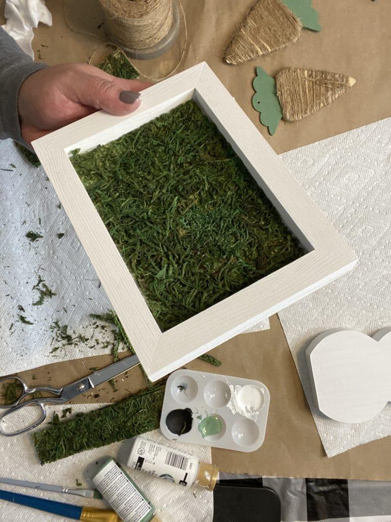 diy bunny craft with moss base